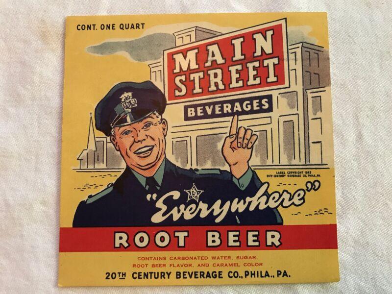 Main Street Beverages Vintage Root Beer Label, Philadelphia, Pa.
