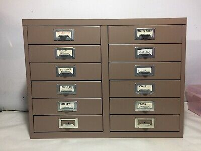 Vintage Metal 12 Drawer Storage Cabinet Small Parts Hardware Organizer