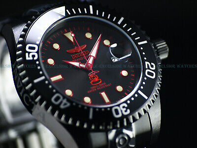 Invicta 47mm Men's Triple Black Combat Grand Diver Automatic Red Label SS Watch
