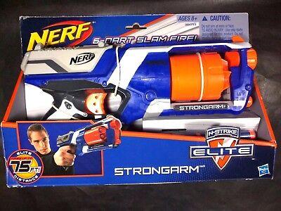 Nerf N-Strike Elite Strongarm Dart Gun Slam Fire Blaster w 6 Darts- New