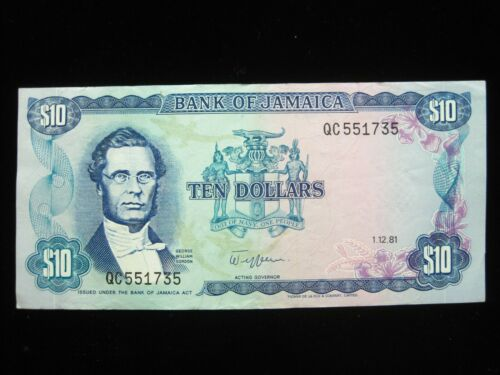 JAMAICA $10 DOLLARS 1981 SHARP 35# Currency Bank Money Banknote
