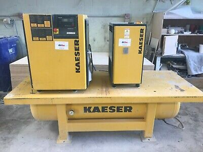 10 Hp Sm11 Kaeser Rotary Screw Air Compressor Wair Drier And 120 Gallon Tank