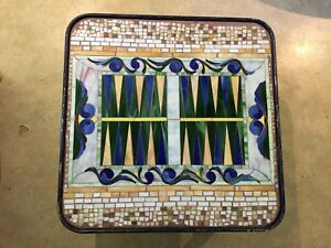 Mosaic Glass Backgammon Coffee Table