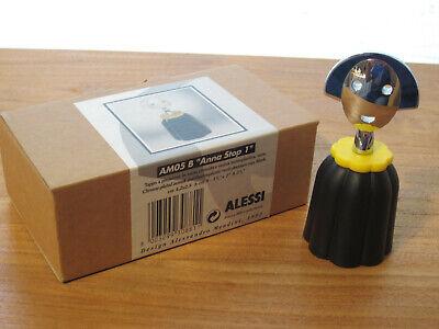 ALESSI *NEW* Bouchon résine Anna Stop noir et chrome, 4,2x2,8cm h.10cm AM05B