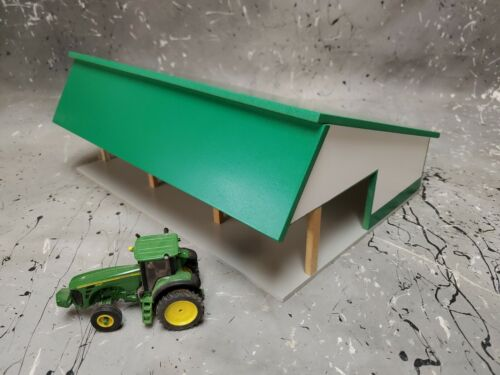 1/64 Custom scratch built cattle shed green white