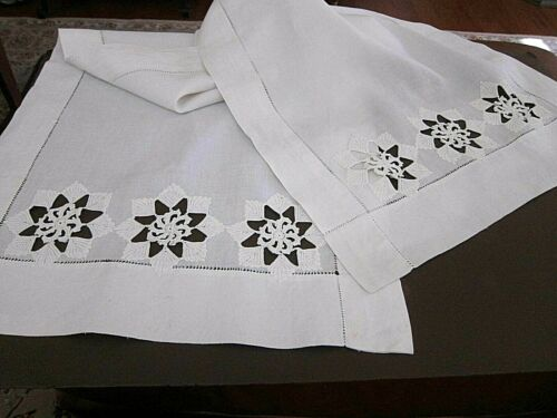 """Fine White Linen Antique/Vintage 65"""" Long Holiday Snowflakes Table Runner~Beauty"""