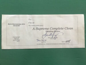 Complete auto detailing certificate