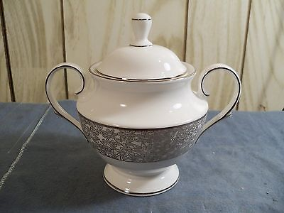 Lenox China Covered Sugar Bowl (Lenox China - Silver Bouquet Pattern - Covered Sugar Bowl - Mint Condition 294)