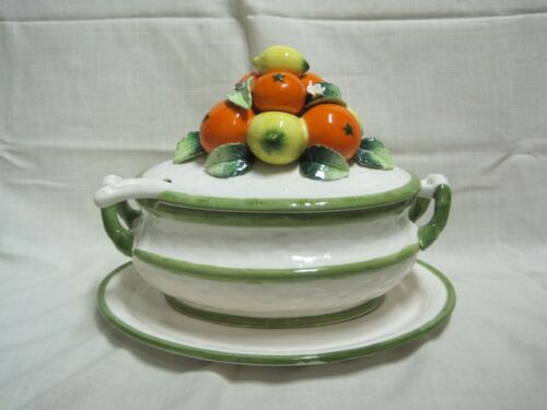 Rare Vintage Lemon and Oranges Majolica Soup Tureen with Underplate and Ladle