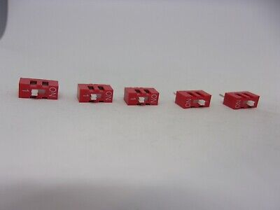 5x Pack Dual 1 Bit 2 Position Way On Off Jumper Slider Selector Switch 2-pin Dip