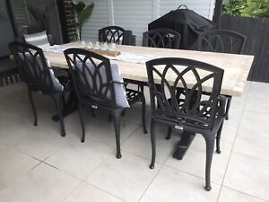 Outdoor elegance - 6 powdercoat aluminium black chairs