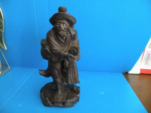 "CHINESE CARVED WOOD STATUE FISHERMAN 6"" HUNTER FIGURINE Antique T18"