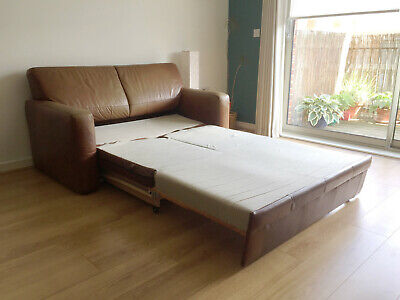 Leather two seater sofa bed with storage
