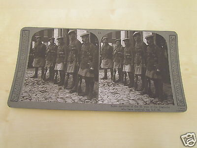 WW1 STEREOVIEW - SOME SURVIVORS OF THE 21 MEN OF SEAFORTHS WHO RECIEVED THE DCM