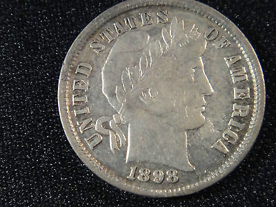 1898 P CIRCULATED AU /- BETTER GRADE BARBER SILVER DIME