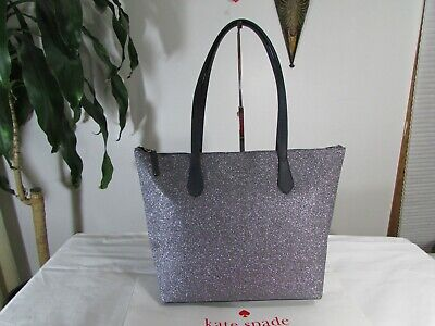 NWT Kate Spade Joeley Glitter Large Tote Bag Dusknavy