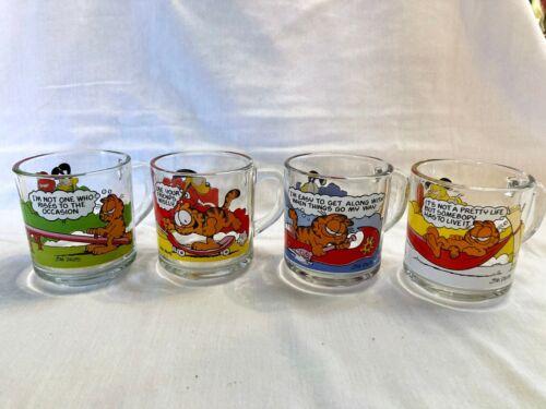 Garfield McDonalds 1987 Complete Set of 4 Character Glass Cups Mugs