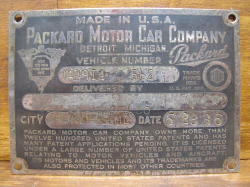1930s PACKARD MOTOR CAR Co Vehicle Number Nameplate Sign DETROIT MICHIGAN USA