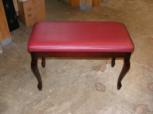 Mahogany Padded Piano Bench With Queen Anne LEGS and Storage small scratches