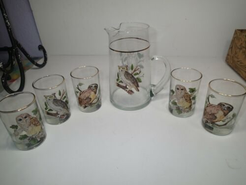 Rare Vintage Libbey Owl Pitcher & 5 Glasses in very good shape MCM