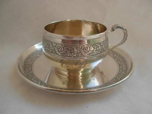 ANTIQUE FRENCH STERLING SILVER COFFEE CUP & SAUCER,19th CENTURY