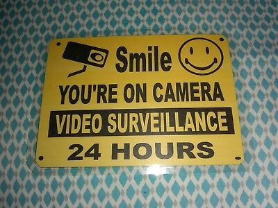 Smile Youre On Camera Yellow Business Security Sign 7 14 Wide X 5 14 Height