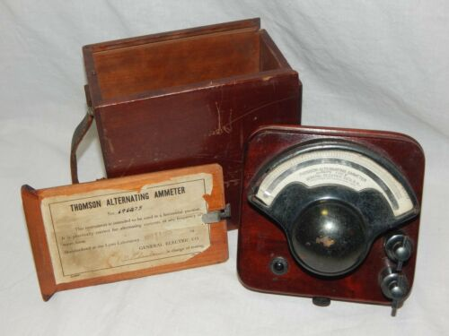 Antique 1923 Thomson Alternating Ammeter Made By General Electric With Wood Case
