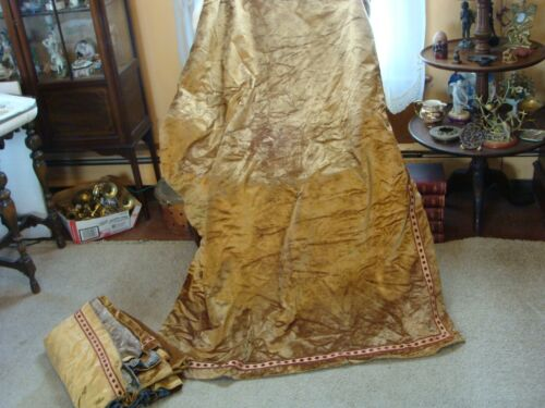 ANTIQUE VICTORIAN PAIR DRAPES PORTIERE CURTAIN GOLD VELVET w BROCADE +RINGS