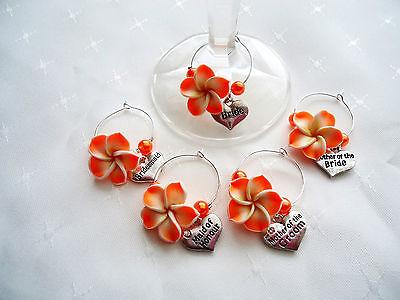 Frangipani Wine Glass Charm BRIDE, BRIDESMAID Wedding Favour Hen Party Gift Idea