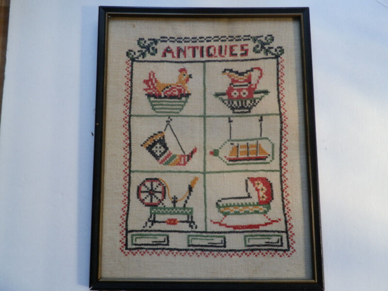 "VINTAGE (19XX) CROSS STITCH SAMPLER  -- TITLE: ""ANTIQUES"" Q"