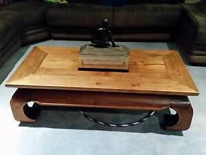 Balinese Wooden Coffee Table with rolled in legs Pacific Pines Gold Coast City Preview