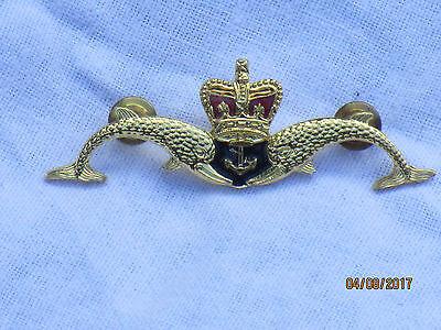 Royal Navy Submarine Badge: Delfine ,Krone & Anker,U Boot Abzeichen,Messing