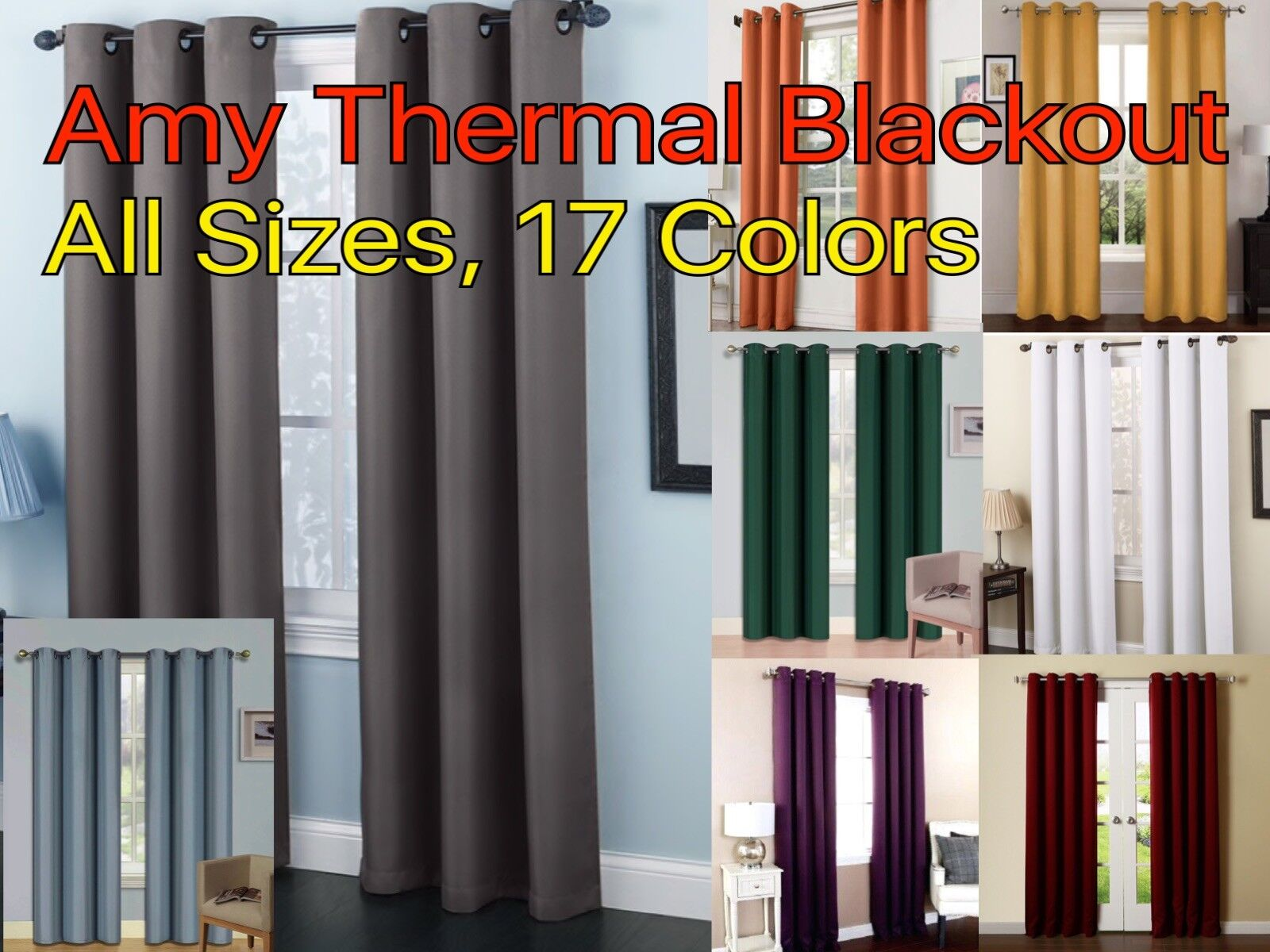 Solid Amy Thermal Blackout Window Curtain Panel With Reflect