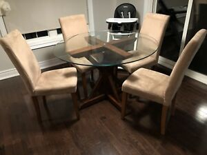 Pottery Barn Glass Table with Chairs