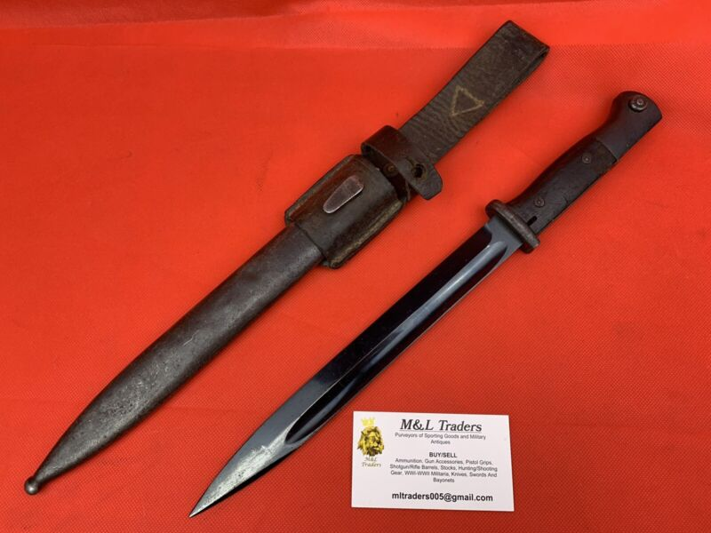 Original WW2/WWII German K98 Bayonet Uncommon Frog Wehrmacht Wood Grips