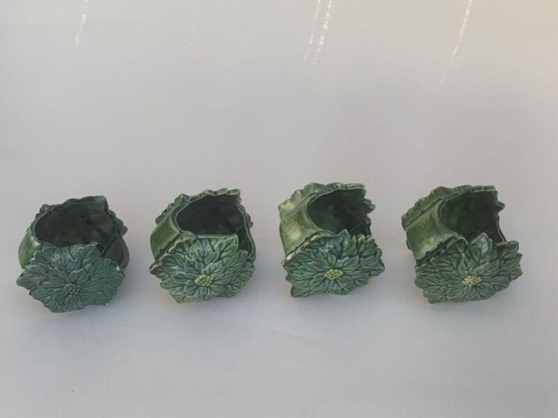 Antique Green Majolica Napkin Rings X4