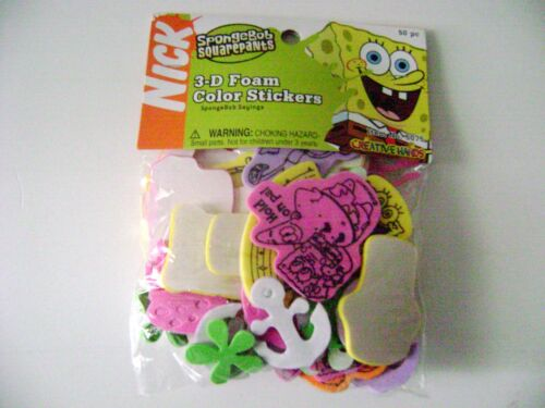 Spongebob Squarepants 3-D Foam Sticker Nickelodeon Cartoons 50pcs