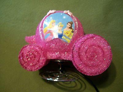 Disney Princess Carriage Coach Night Light Sparkly Pink Plastic Lights Up