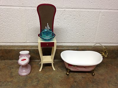Barbie Doll Fashion Fever Bathroom Vanity Sink Toilet Bath Tub Room Furniture