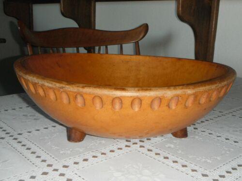 "Vintage Footed Munising Wooden 13 3/4"" Dough / Fruit Bowl Farmhouse"