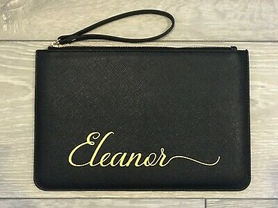 Personalised Clutch Bag Faux Leather Pouch Black/Pink/Grey/White Your Name