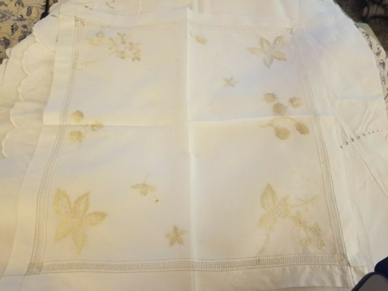 ANTIQUE LINEN HAND EMBROIDERED SILK LEAVES LARGE HANDKERCHIEF HANKIE DRAWNWORK