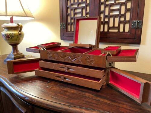 "17"" Vintage CHINESE JEWELRY BOX  Rosewood tone~Brass Hardware~Temple/Longevity"