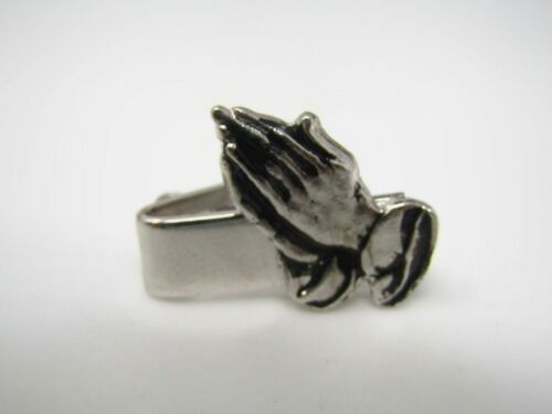 Christian Religious Tie Bar Clip for Men Vintage Silver Tone Praying Hands