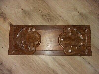 Vintage carved Wooden Book slide Indian leaf / floral / botanical design bookend