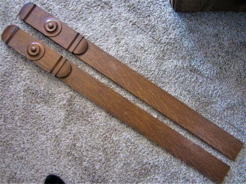 Pair Tiger Oak Victorian Plinth Columns Furniture Parts Fireplace Mantle Trim