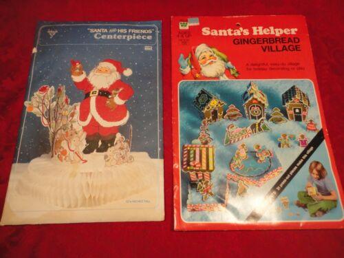 Vintage Santa Honeycomb Centerpiece + Whitman Gingerbread Village NOS!