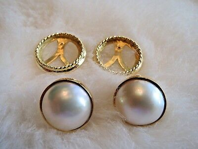 Custom Made 18K Yellow Gold & Mabe' Pearl Jackets & Earrings 16mm White Mabe'  16mm Mabe Pearl