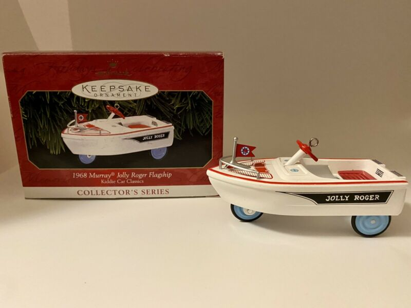 "Hallmark ""1968 Murray Jolly Roger Flagship"" Kiddie Car Classics Ornament in Box"