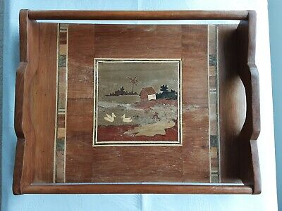 WOOD INLAY TRAY WITH HANDLES AND SIDE BARS 10½